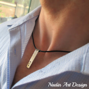 Initial Tag Leather Cord Men's Necklace