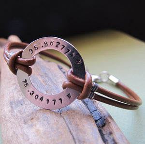Gps Engraved Mens Bracelet