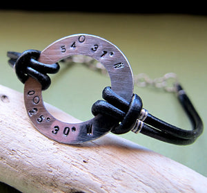 Custom Longitude Latitude Personalized Bracelet for Him