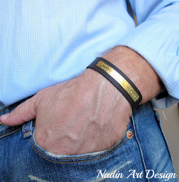 Quote Bracelet - ID Leather Cuff