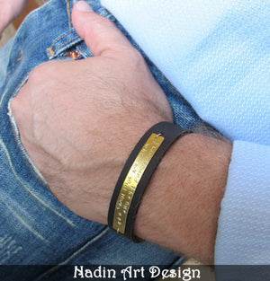 Men's Leather Bracelet - Personalized Gift for Him