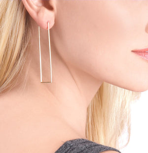 Long Rectangular Gold Hoop Earrings