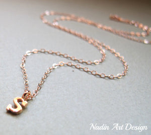 Letter charm gold necklace
