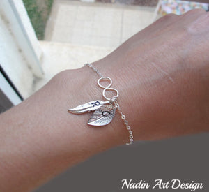Leaf and Feather charm infinity bracelet