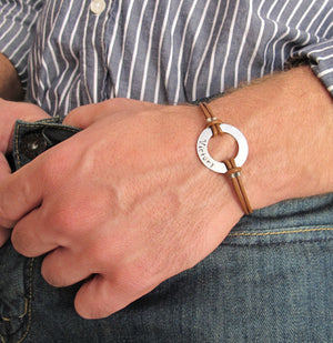 brown mens bracelet with GPS coordinates