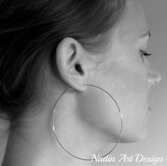 Silver Hoop Earrings by Nadin Art Design