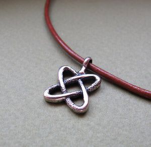 Celtic Necklace - Leather Cord Celtic Knot Pendant for Men
