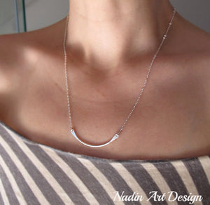 Curved Pendant Sterling Silver Necklace