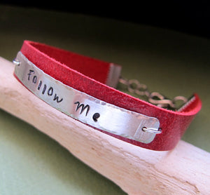 Adjustable Red Leather Name Bracelet