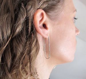 Sterling Silver Paper Clip Earrings