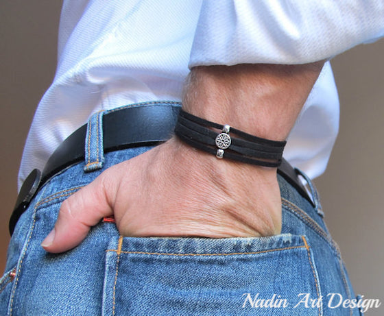 Adjustable Suede Mens Bracelet