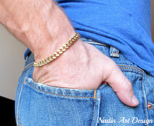 Gold Curb-Link Bracelet for Men