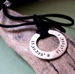 Custom Coordinates Longitude / Latitude Pendant Necklace
