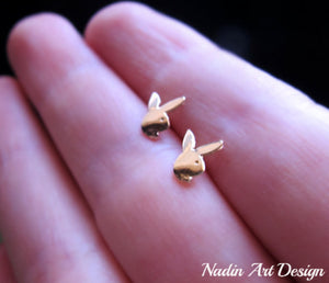 Gold Rabbit Stud Earrings