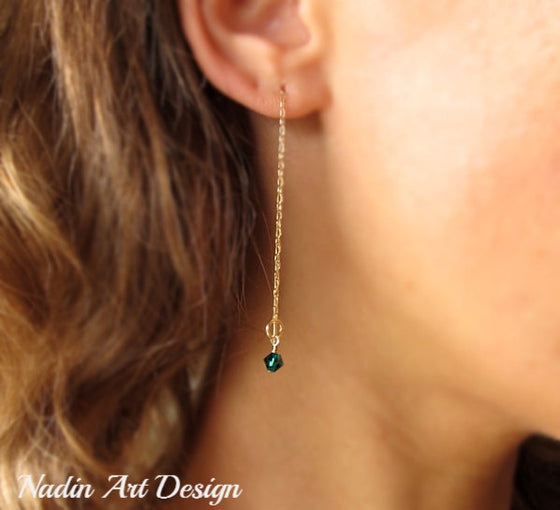 Long gold crystal earrings