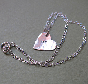 Heart Charm Sterling Silver Bracelet with inital