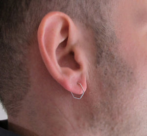 Geometric Sterling Silver Hoop Earring for men
