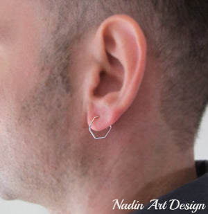 Hexagon Silver Earring for men - Mens Earrings modern