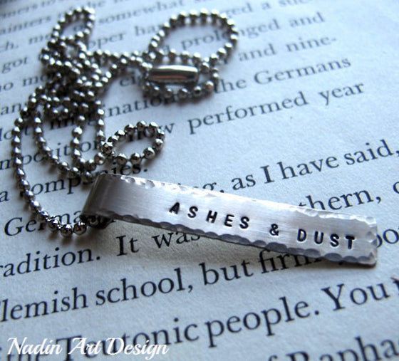 Hand stamped pendant chain necklace