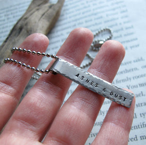 Rectangle Name Hand Stamped Pendant Necklace