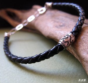 Leather bracelet - Mens Braided Cuff