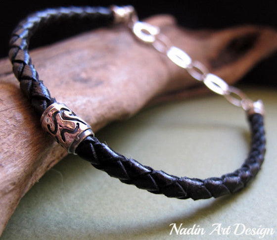 Genuine Leather Braided Bracelet for Men