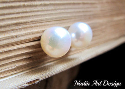 pearl earrings for her -large pearls