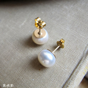 Gold Studs with Big Freshwater Pearls, Large Pearl Stud Earrings