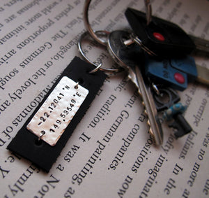 Engraved Stainless Steel and Leather Key Chain
