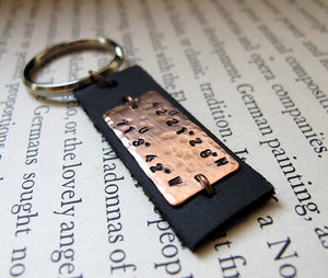 Pesonalized Black Leather Keychain