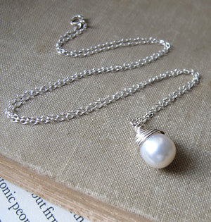 Teardrop Pearl Charm Necklace
