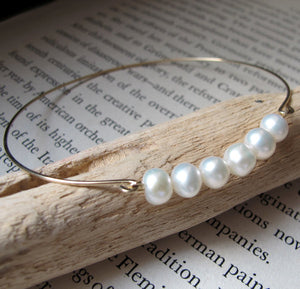 White Pearl Bangle - Gold Cuff