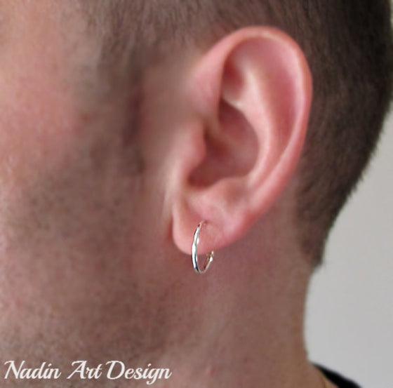 Small silver unisex hoops