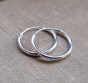 Huggie Hoop Earrings - Sterling Silver Tube Hoops