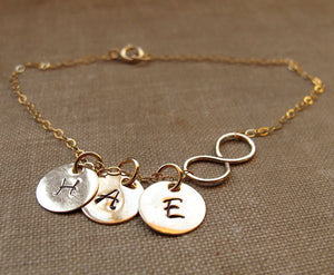 Gold Infinity Necklace with Initial Charm