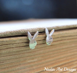 Bunny rabbit silver earrings