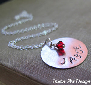 Charm necklace with birthstone crystal
