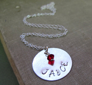 Name Pendant Birthstone Necklace