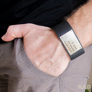 Mens Wide Band Cuff with Quote