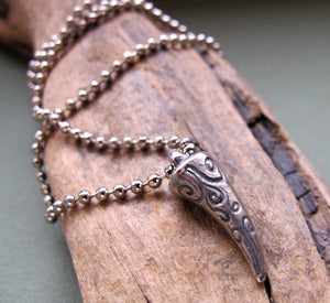 Silver Claw Pendant Necklace for Men