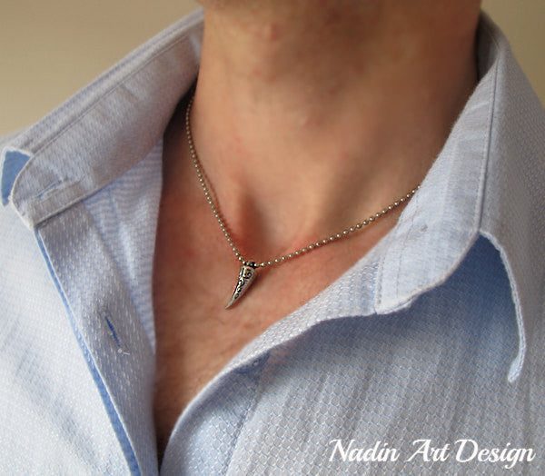 Tooth pendant silver necklace