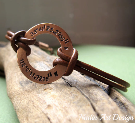 copper washer mens bracelet with latitude engraved coordinates
