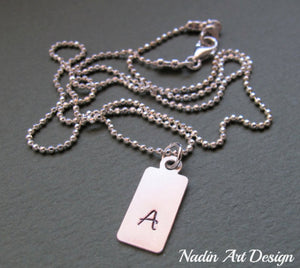 Initial tag chain necklace