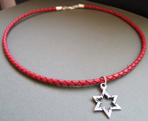 Star of David Pendant Red Necklace for Men