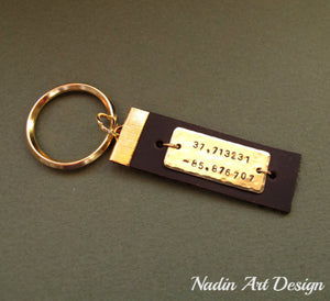 Gold and leather personalized keychain