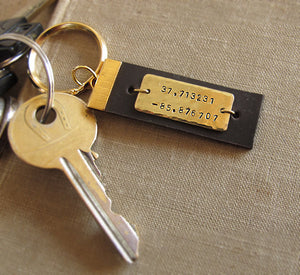 Gold and Leather Custom Keychain for men