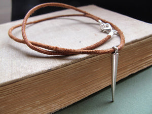 Spike Pendant Leather Necklace for Men