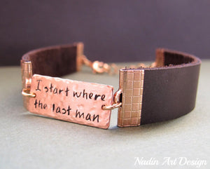 Nameplate mens leather bracelet
