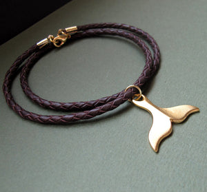 Gold Whale Tail Leather Braided Necklace