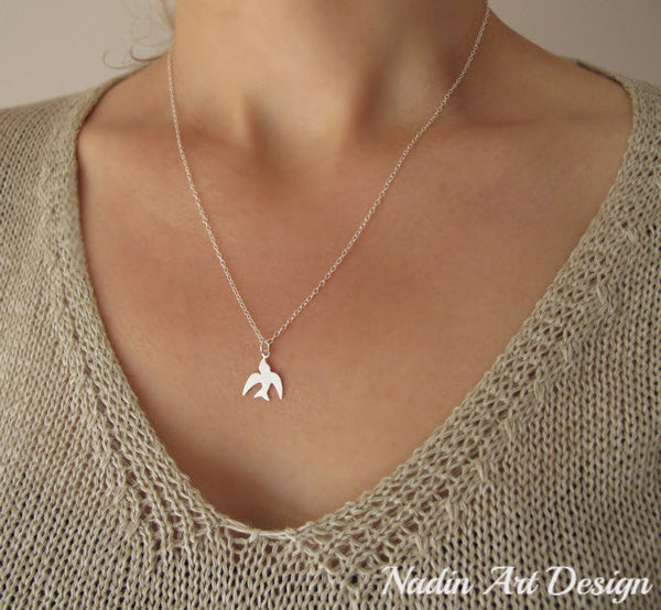 Silver dove bird charm necklace